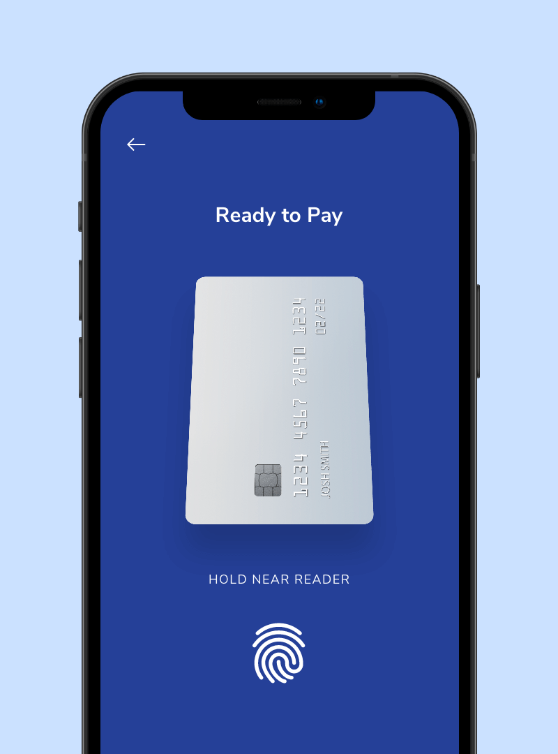 Smartphone screen with a white debit card ready for payment.