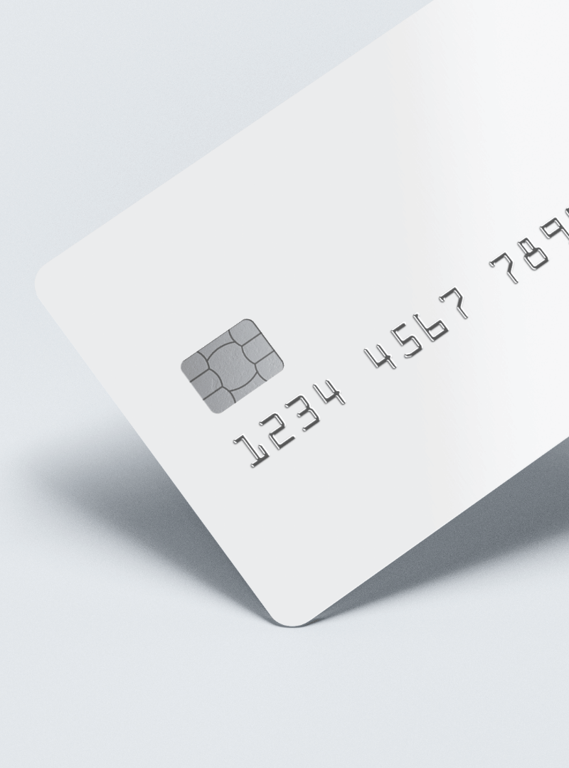 White debit card for BIN sponsorship projects in a grey background.